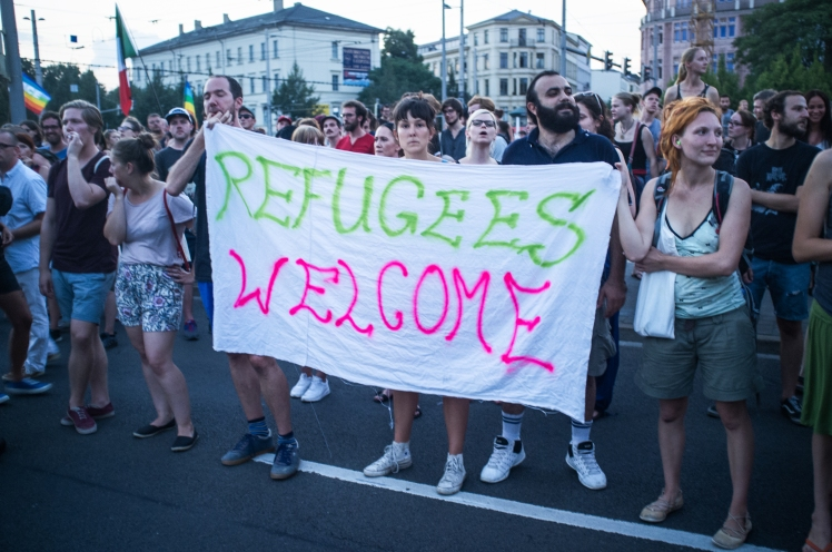 Rally in Leipzig, Germany to make refugees welcome