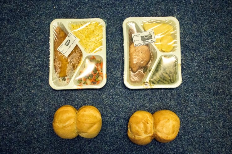Food given to refugees in Berlin, Germany
