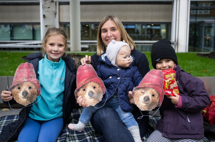 Families with Paddington masks call on Amber Rudd and UK government to welcome more child refugees from Calais and Europe to the UK