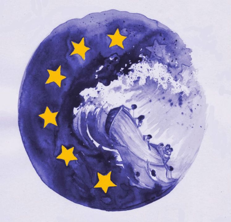 Blue flag of European Union with yellow stars, painted in a circle and washing away