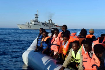 Migrants and refugees travelling to Europe across Mediterranean in a dinghy